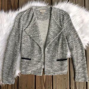 LOFT Black White Tweed Soft Cardigan Blazer Jacket